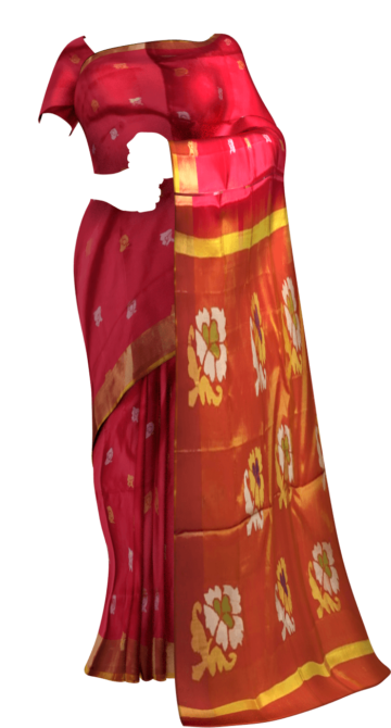 Shop Red and peach Uppada Jamdani saree with flower butta Online