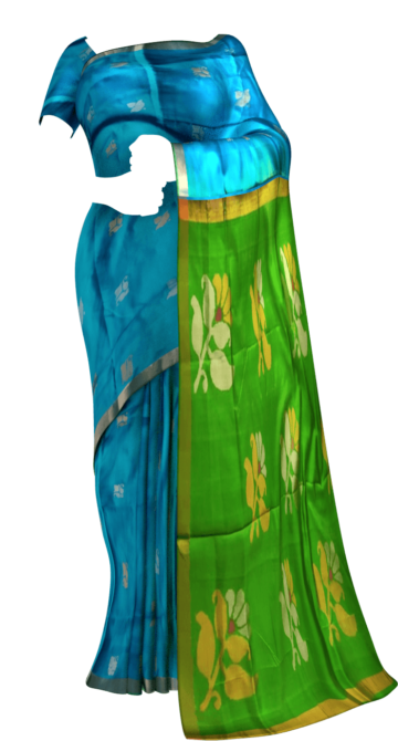 Shop Green and teal Uppada Jamdani saree with flower butta pallu Online