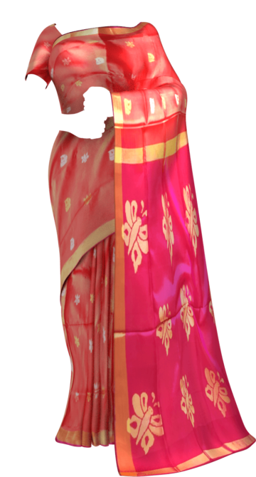 Shop Magenta and peach Uppada Jamdani Saree with Butta pattern Online