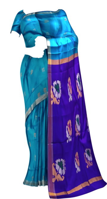 Shop Ananda sky blue and royal blue Uppada Jamdani saree with flower butta Online