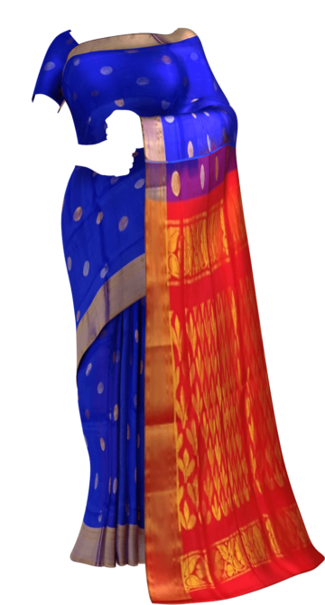 Shop Red and royal blue Uppada Jamdani saree with rich pallu Online