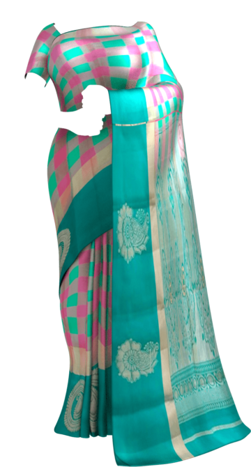 Shop Multicolor and teal Uppada Jamdani Saree with Butta and checks pattern Online