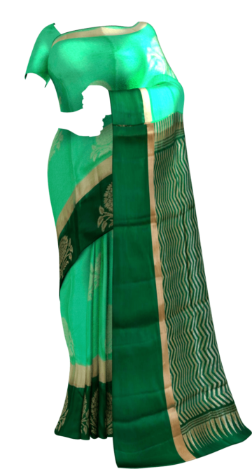 Shop Bottle green and meenakshi green Uppada Jamdani Saree Online