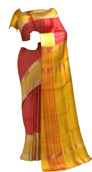 Red with Golden Yellow border Mahanati style Uppada silk saree Limited Edition Yespoho Sarees New Arrivals Uppada Jamdani With Butta Saree
