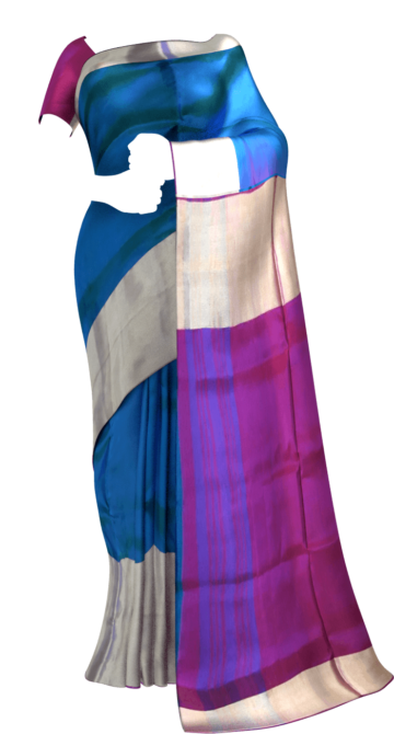(SOLD) Blue with magenta based double color pallu Uppada silk saree Limited Edition Yespoho Sarees New Arrivals Uppada Jamdani Sarees