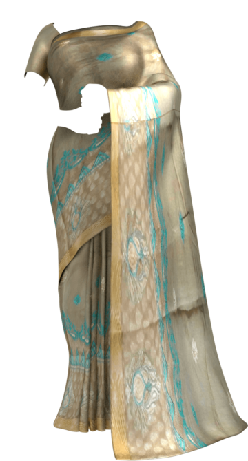 Cotton saree with Flower Butta pattern and Dusty Grey and Teal color Chiffon Sarees Limited Edition Yespoho Sarees Gift Sarees New Arrivals