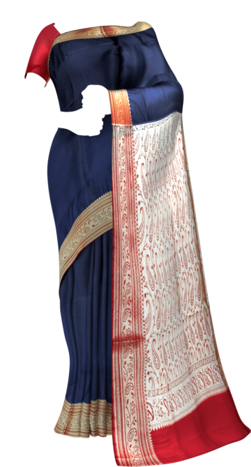Terrific Navy Blue and Red Banarasi with Plain pattern Limited Edition Yespoho Sarees New Arrivals