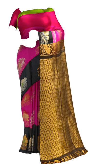Shop Chic Black and Pink Kuppadam Silk Saree with Half-fine Zari Online