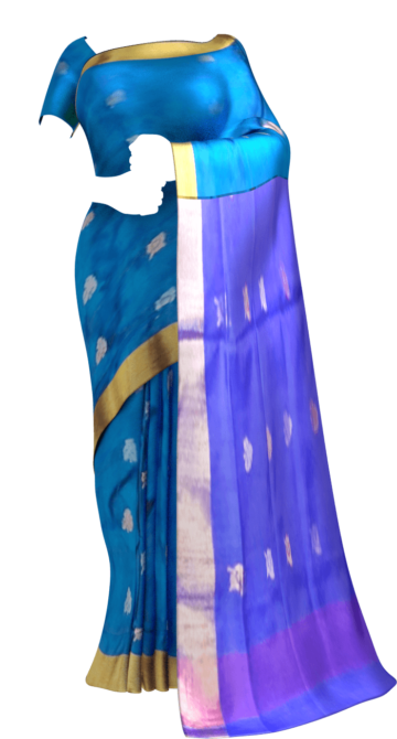 Shop Pure soft silk Uppada Saree with blue color body & pallu with golden and silver butta design Online