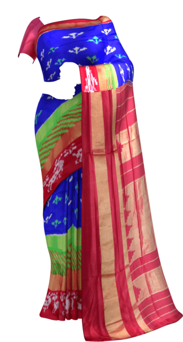 Blue and Tomato Red Pochampally silk saree Happy Holidays Sale Saree20 Thanksgiving Year End Dhamaka Yespoho Sarees New Arrivals Ikkat Sarees