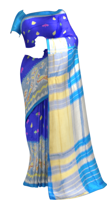 Ananda sky blue Pochampally saree with Peacock Design pattern Happy Holidays Sale Saree20 Thanksgiving Year End Dhamaka Yespoho Sarees New Arrivals Ikkat Sarees