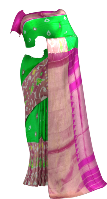 Green and pink Pochampally silk saree with Designer Pallu Happy Holidays Sale Saree20 Year End Dhamaka Yespoho Sarees New Arrivals Ikkat Sarees