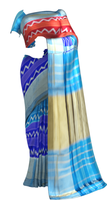 Ananda Sky Blue Pochampally saree with stripes pattern Winter Sale Yespoho Sarees New Arrivals Ikkat Sarees
