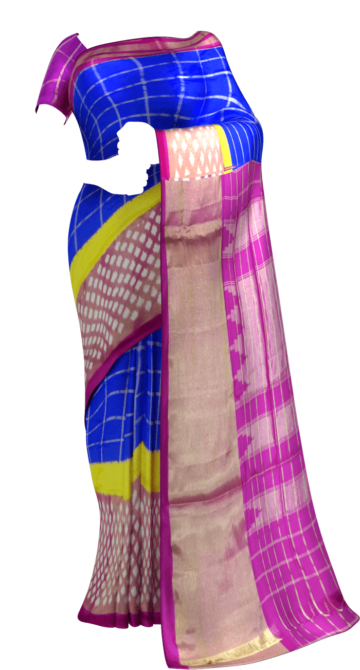 Pink and blue Pochampally silk saree with plain border Happy Holidays Sale Saree20 Thanksgiving Year End Dhamaka Yespoho Sarees New Arrivals Ikkat Sarees