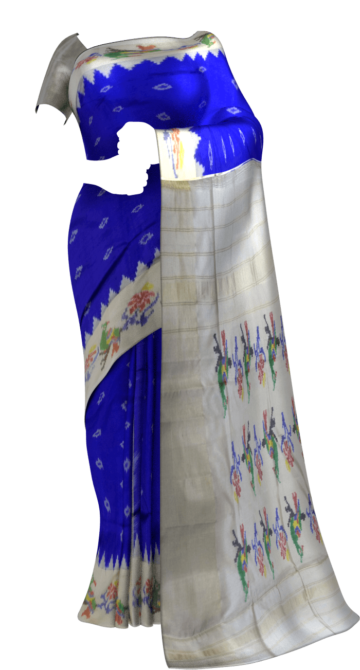 Blue and off-white Pochampally saree with peacock design Thanksgiving Winter Sale Yespoho Sarees New Arrivals Ikkat Sarees