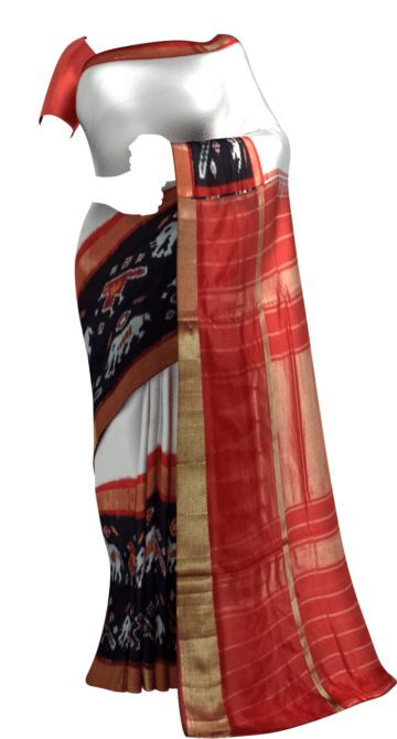 Off white Pochampally saree with kaddi border pattern Yespoho Sarees New Arrivals Ikkat Sarees Trending Sarees