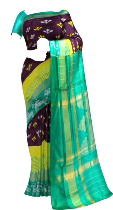 Pochampally Ikkat saree with Green and deer border Yespoho Sarees New Arrivals Ikkat Sarees