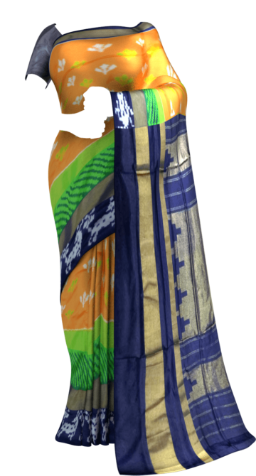 Pochampally Ikkat Navy Blue saree with deer border Yespoho Sarees Ikkat Sarees