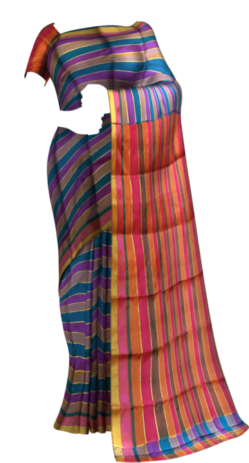 Extravagant Multicolor Arani with Stripes pattern Limited Edition Yespoho Sarees Handpicked Collections New Arrivals