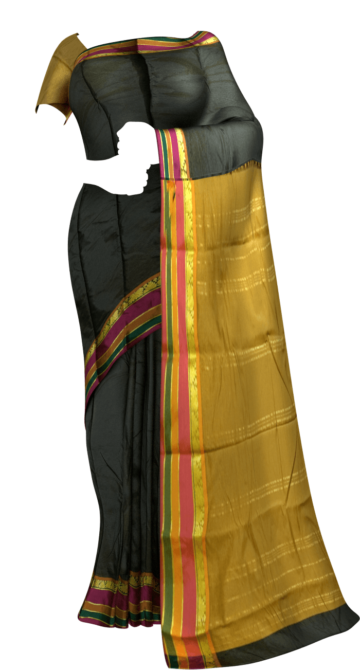 Fancy Multicolored Stripes on a Contrast border Silk Saree Limited Edition Yespoho Sarees New Arrivals