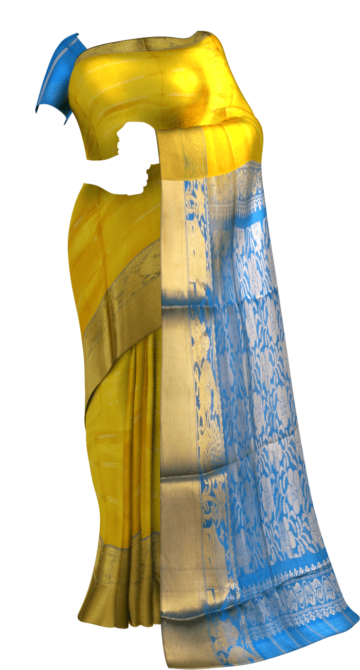 Brilliant Ananda Sky Blue and Golden Yellow Kuppadam Silk Saree Limited Edition Yespoho Sarees New Arrivals