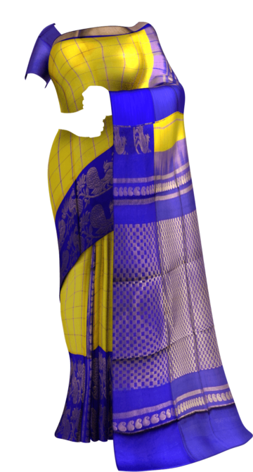 Golden Yellow and Royal Blue Kuppadam Silk Saree Limited Edition Yespoho Sarees New Arrivals