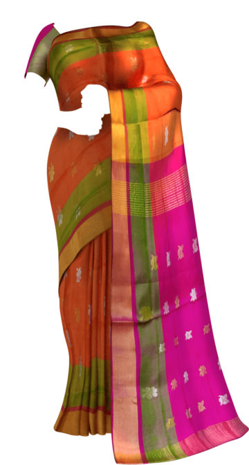 Orange with Contrast pink with Butta Uppada silk saree Limited Edition Yespoho Sarees New Arrivals Uppada Jamdani With Butta Saree