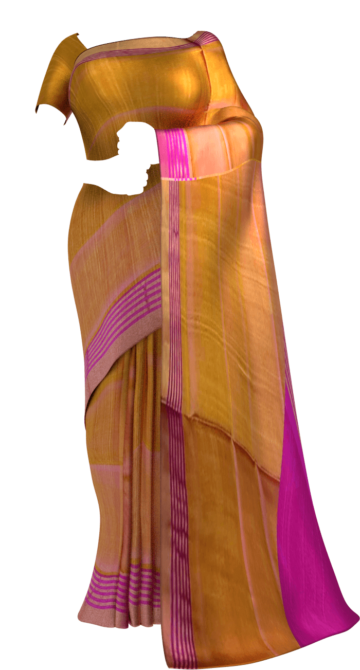 Shop Magenta and mustard Uppada soft silk saree with striped border Online