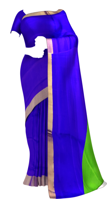 Shop Blue and green Uppada soft silk saree with plain pattern Online