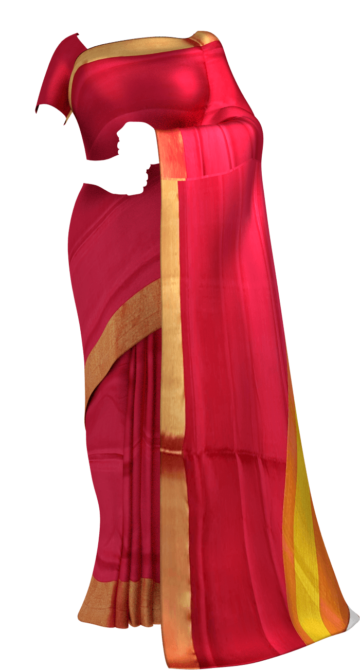 Shop Mustard and tomato red Uppada soft silk saree Online