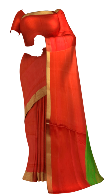 Shop Green and tomato red Uppada soft silk saree with plain pallu Online