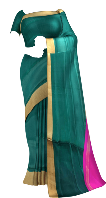 Shop Green and pink Uppada soft silk saree with plain pattern Online