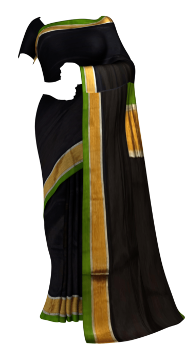 Shop Green and black Uppada soft silk saree with Plain pallu Online