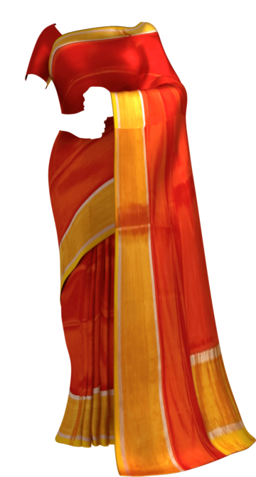 Shop Brick Red and yellow Uppada soft silk saree with silver border pattern Online