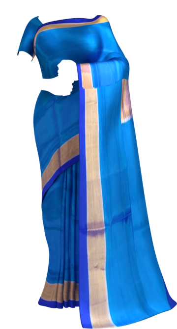 Shop Ananda sky blue Uppada soft silk saree Online