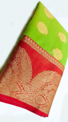 Lime Green Banarasi Pure Cotton With Satin Ikkat Golden Design Border-yespoho