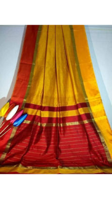 Mango Yellow Silk Cotton Saree With Red & Yellow Border-yespoho