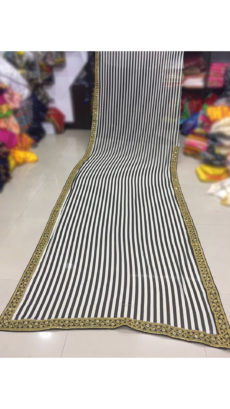 Black & White Striped Printed Weightless Georgette Saree With Golden Work Lace Embroidery-yespoho