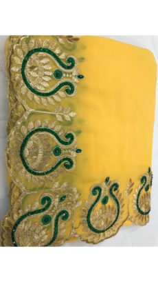 Yellow Georgette Saree With Dark Green and Golden Embroidery-yespoho