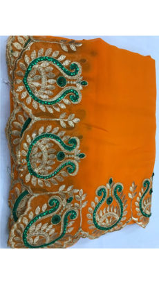 Orange Georgette Saree With Dark Green and Golden Embroidery-yespoho