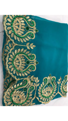 Dark Teal Georgette Saree With Dark Green and Golden Embroidery-yespoho