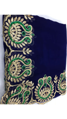 Dark Blue Violet Georgette Saree With Dark Green and Golden Embroidery-yespoho