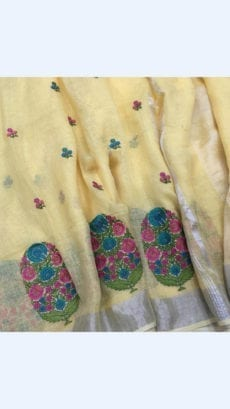 Pure Handloom Yellow Lenin Sarees With Allover Butta Embroidery Work With Silver Border-yespoho