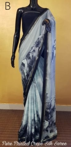 Grey with black printed Chiffon saree with satin border-yespoho