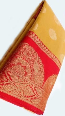 Yellow Banarasi Pure Cotton With Satin Ikkat Golden Design Border-yespoho