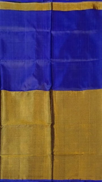 Golden Violet Uppada Tissue Silk Saree With Golden Border
