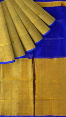 Violet Uppada Tissue Silk Saree With Golden Border-yespoho