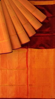 Dark Maroon Uppada Tissue Silk Saree With Orangish Golden Border-yespoho
