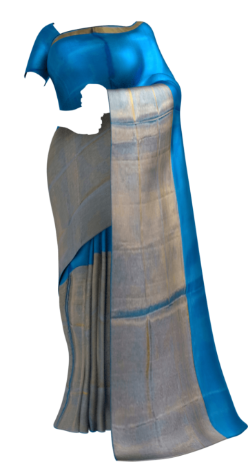 Shop Azure Blue Uppada Tissue Silk saree with Half Tissue and Plain pattern Online