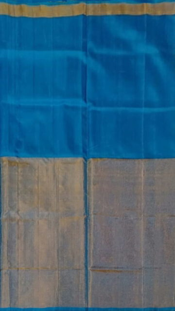 Azure Blue Azure Blue Uppada Tissue Silk saree with Half Tissue and Plain pattern